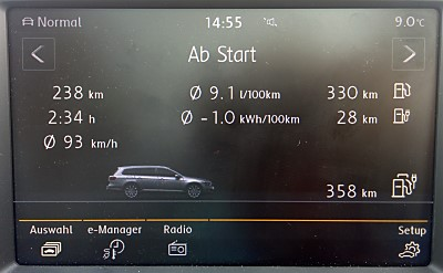 VW Passat GTE Bordcomputer Autobahn